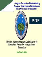Modelos Matemáticos Para Optimización de Reemplazo Preventivo e Inspecciones Preventivas