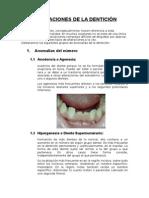 Alteraciones de La Dentición