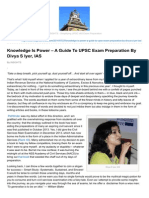 Knowledge is Power a Guide to UPSC Exam Preparation by Divya S Iyer IAS