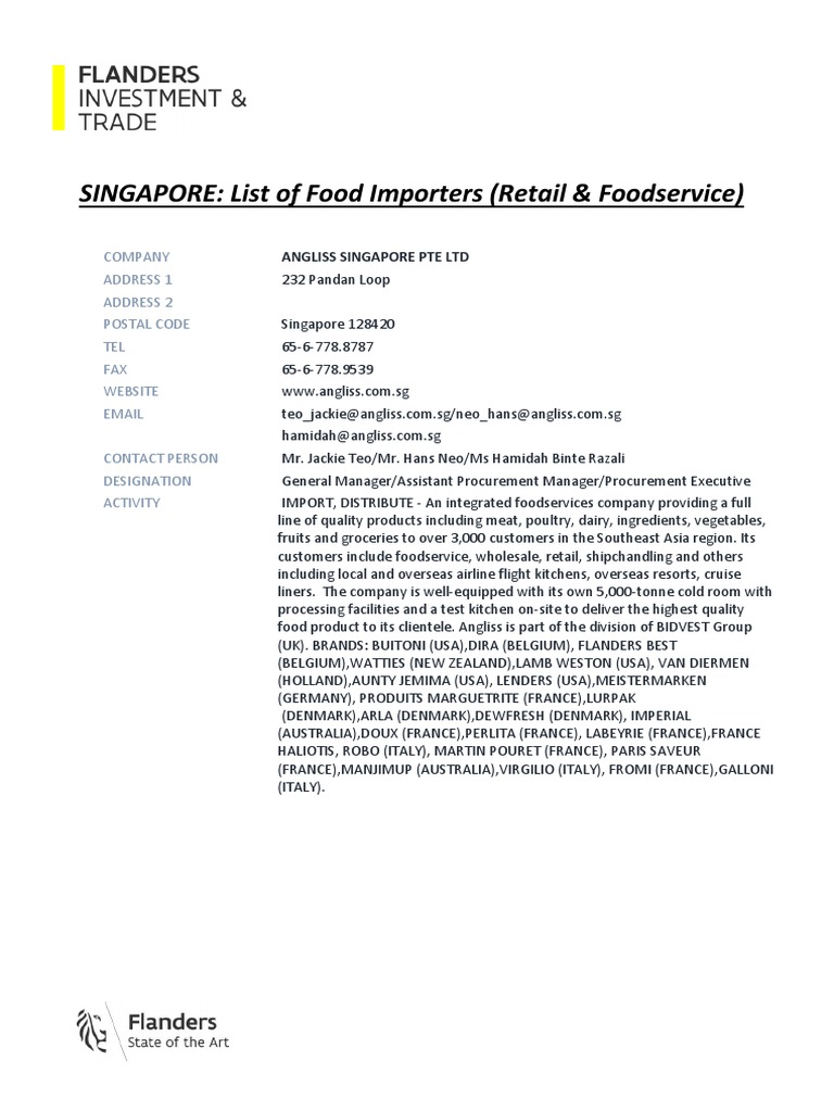 SINGAPORE - List of Food Importers (Retail & Foodservice) | Grocery