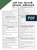 Belief in God Revision Sheet