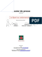 """Dossier de  presse de la MAIF présentant sa garantie """"Sport sur ordonnance"""""""