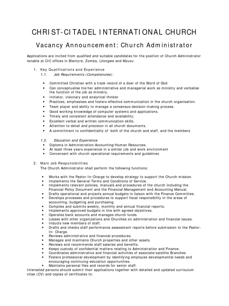 vacancy announcement church administrator 2 2 employment 1509811091 vacancy announcement church administrator 2 2 church administrator - Church Administrator Salary