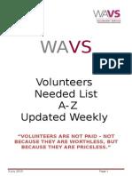 Volunteers Needed List 7/15