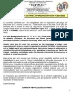comunicado 002 a los trabajadores presentacion pliego 2015  julio 7