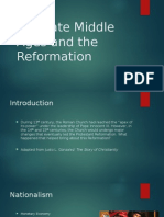 The Late Middle Ages and the Reformation