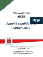 Appel à Candidatures Thèses 2015