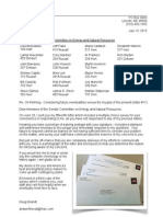 13 July 2015 Letter to Senate Committee on Energy