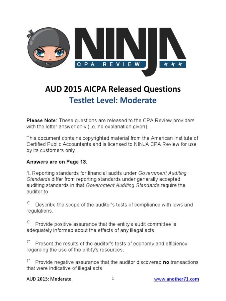 2009 aicpa newly released question Does anyone have links to the aicpa released questions for years 2005-2009 they had these in the reg forum, didn't know if someone had them here too.
