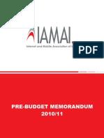 IAMAI - Pre Budget Memorandum