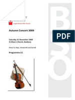 Programme for Autumn 2009 Concert