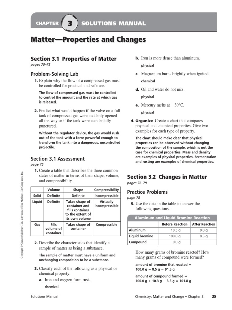 Chemistry Ch 5 Properties Of Matter Manual Guide