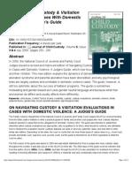 Navigating Custody & Visitation - A Judge's Guide- Journal of Child Custody 2010 Zorza
