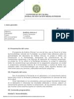 Contenido programático Análisis Clínicos I UDC
