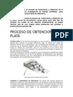 Proceso de obtencion de plata