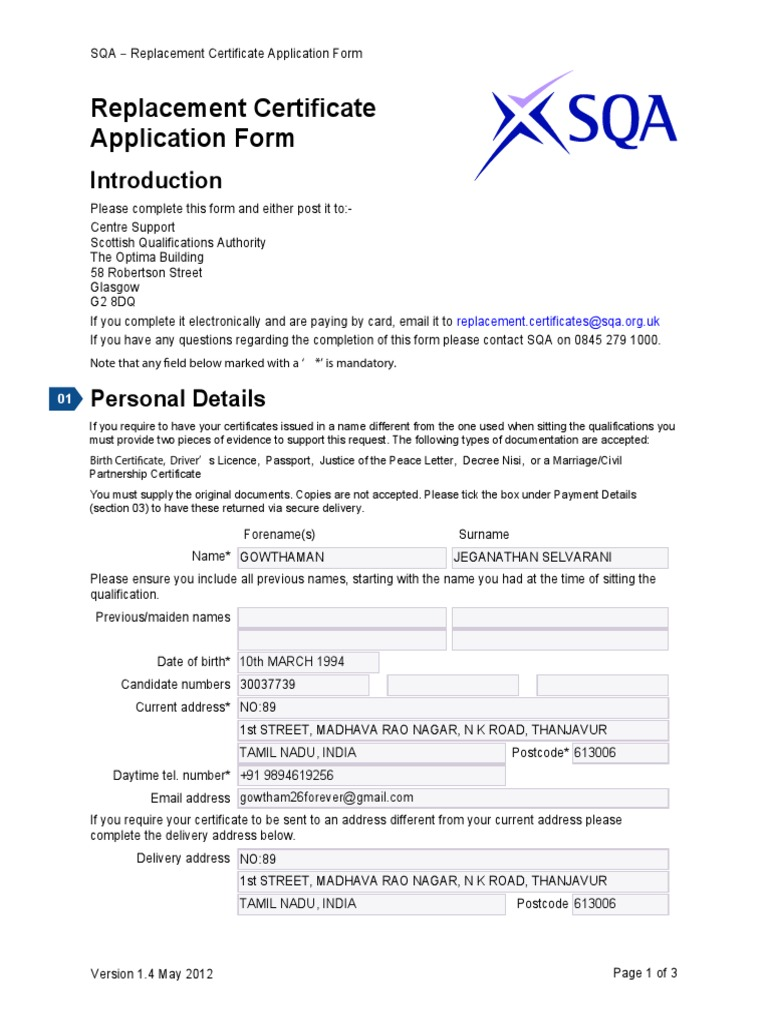 Replacement Certificate Application Form Ver 1 4 May 2012 1 Mail