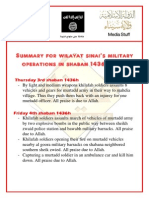 Wilāyat Saynā' – Harvest of the Military Operations for the Month of May-June 2015