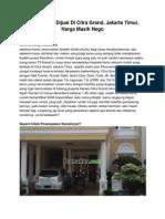 Iklan Rumah Dijual Di Citra Grand, Jakarta Timur, Harga Masih Nego
