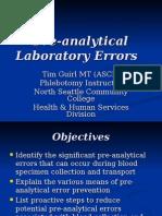 Pre-Analytical Laboratory Errors