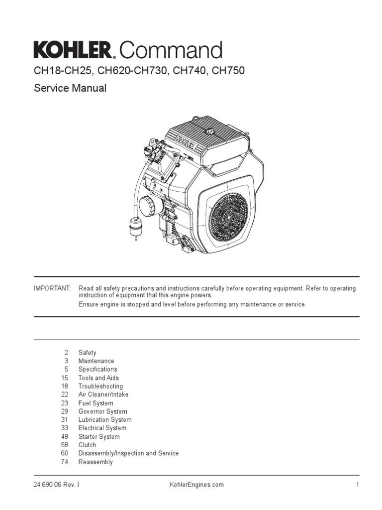 Kohler 14RESA Generator Engine Service Manual (CH740)   Carburetor    Cylinder (Engine)