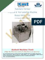 Ampoule & Vial Vertical Labelling Machine Model KAVRL - 150