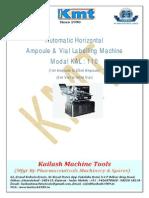 Ampoule & Vial Labelling Machine Model KAL - 110