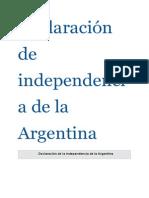 Declaración de Independencia de La Argentina