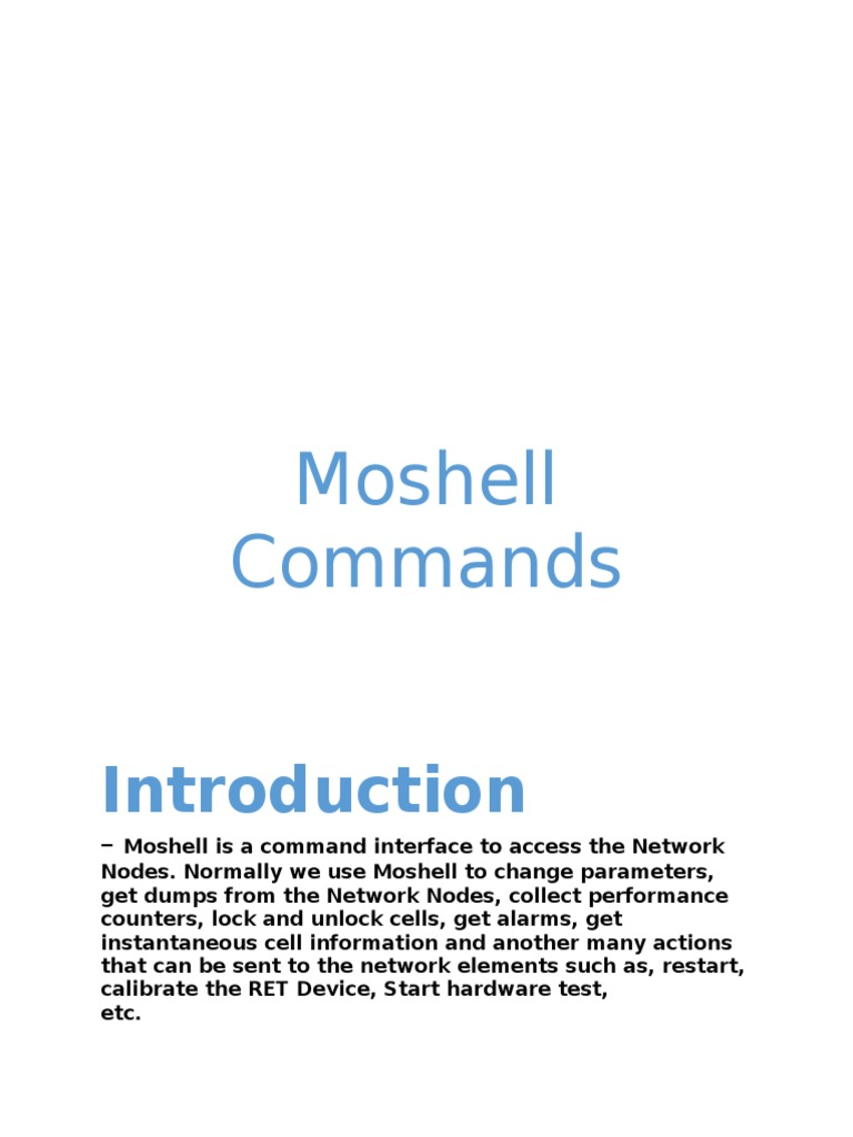 Moshell Commands