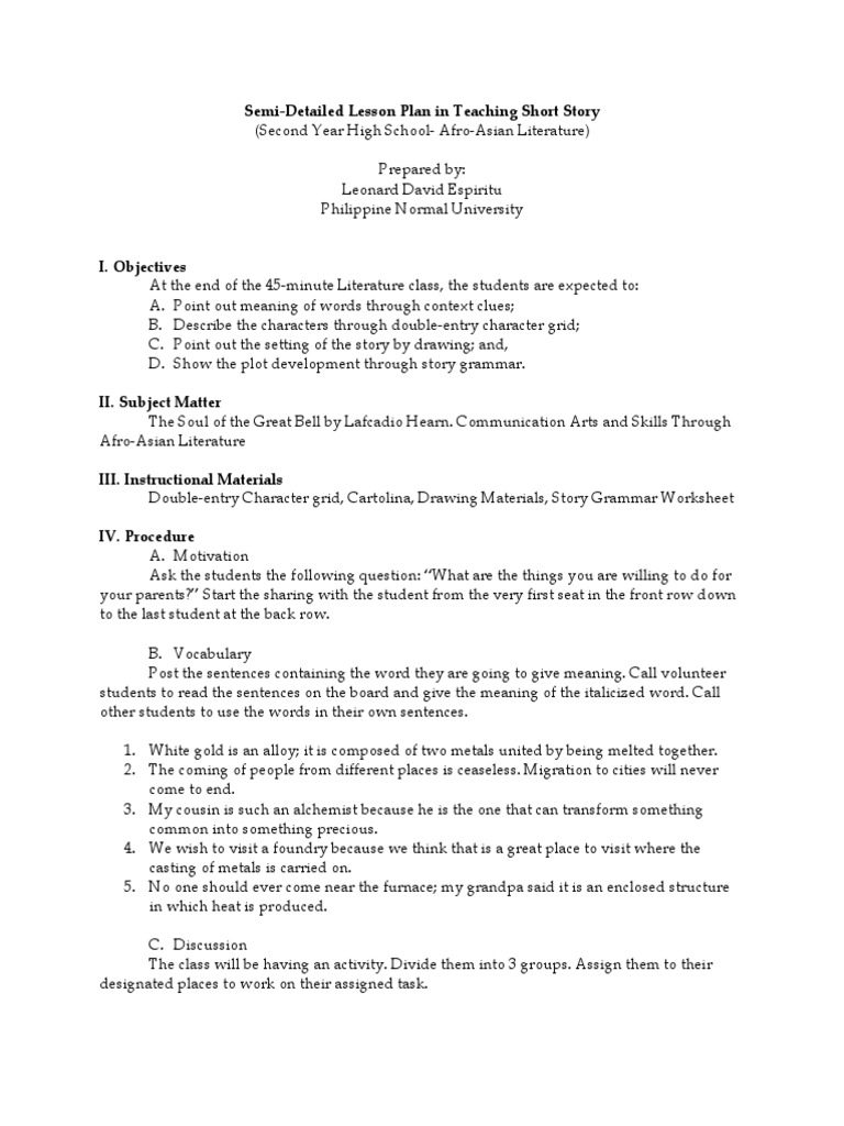 Semi-Detailed Lesson Plan in Teaching Short Story | Lesson Plan