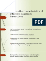 Characteristics of Effective Classroom Instructions