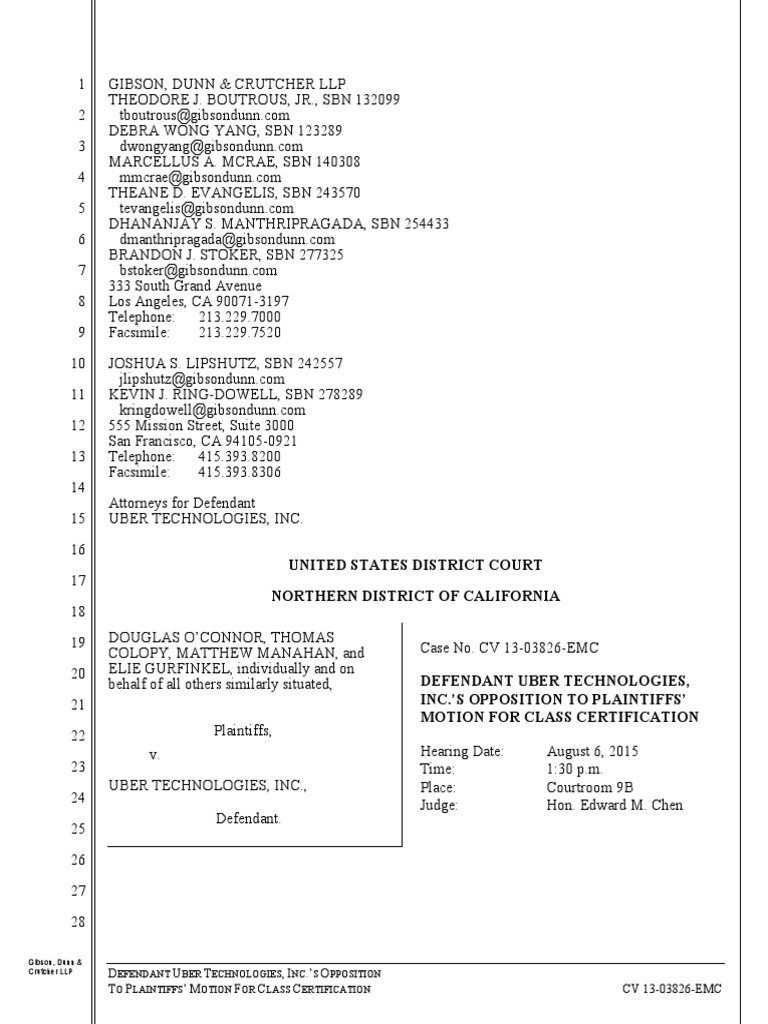 10194456926 Ubers Opposition To Plaintiffs Motion For Class