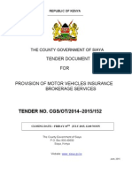 MOTOR VEHICLE INSURANCE TENDER