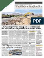 El Comercio - 01-07-2015 - Obras de prevención por fenomeno del niño están pendientes en el norte.pdf