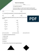 Examen de Matemáticas. Joss