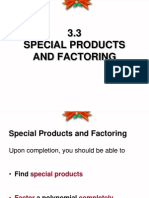 3.3 Special Products and Factoring