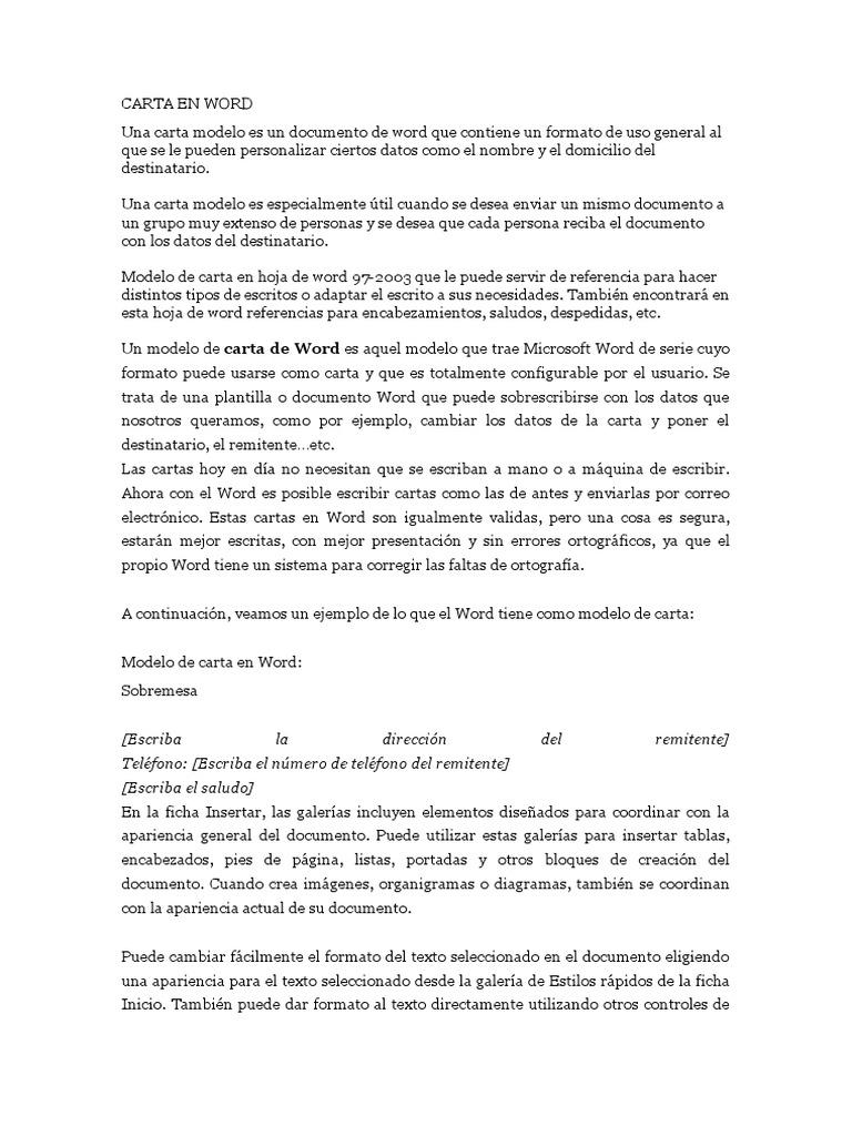 formatos de cartas en word - Etame.mibawa.co