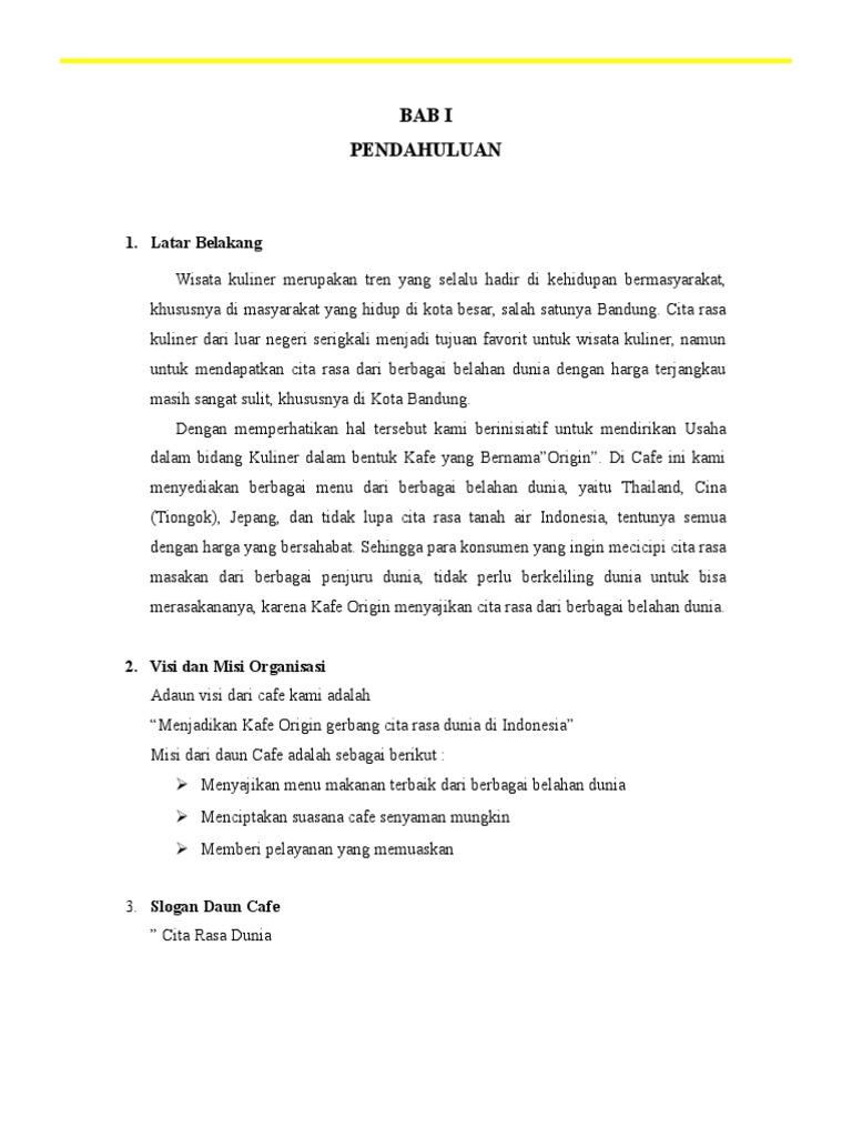 Contoh Proposal Usaha Cafe Gambaran