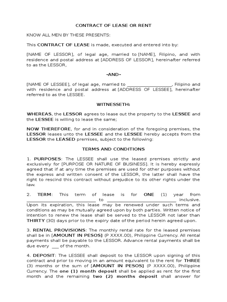 Captivating Sample Contract Of Lease Of Establishment   Lease   Property