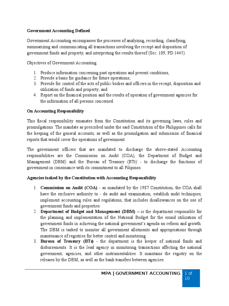 report on pfa government acctgdocx fund accounting expense
