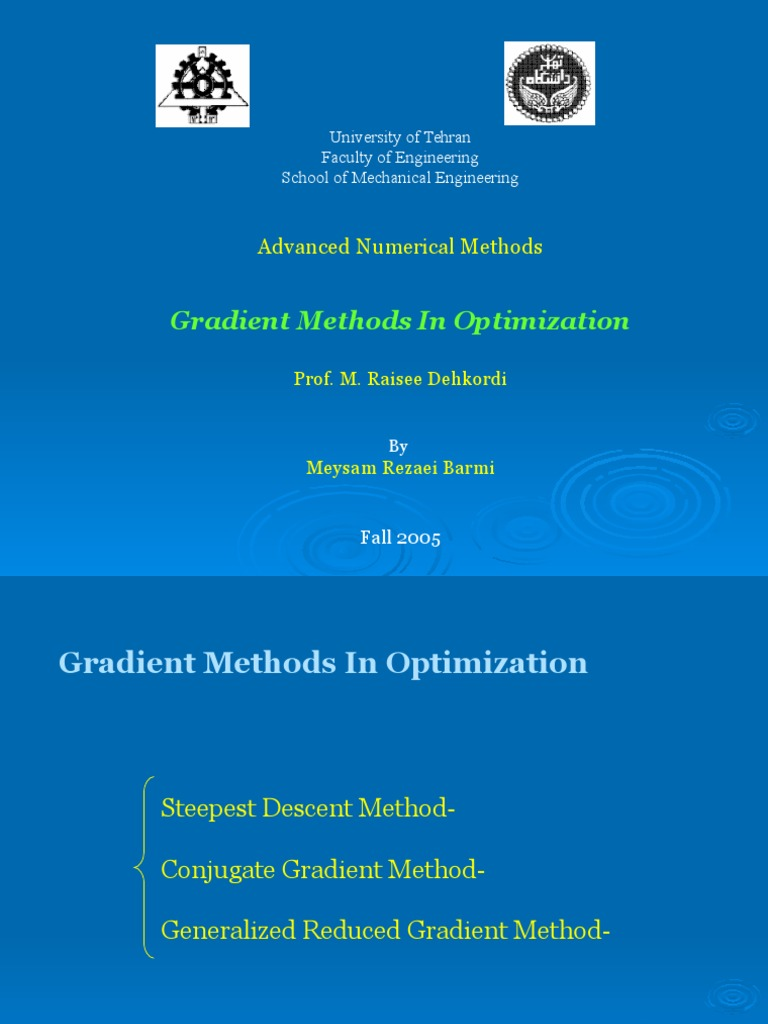 Numerical Reciepe Presentam tion   Mathematical Optimization