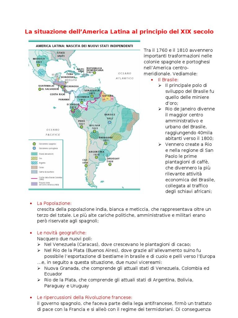 La situazione dell'America Latina al principio del XIX secolo