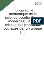 Bibliographie Méthodique de La Science Occulte