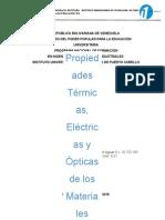 Propiedades Termicas, Elctricas y Opticas de Los Materiales
