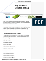 8 Major Rating Plans Are Utilized for Vendor Rating
