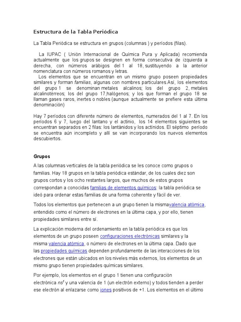 Estructura de la tabla peridicacx urtaz Images