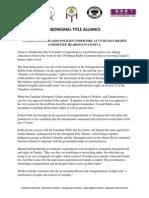 Aboriginal Title Alliance Press Release Geneva July 2015