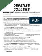 Exam Emberyology and histology