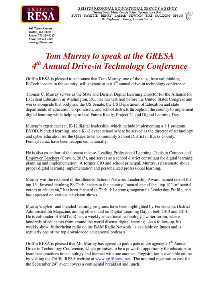 Tom Murray To Speak At GRESA Technology Conference Sept - Top us counties for education