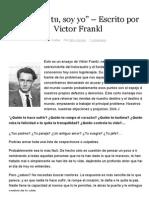 """""""No Eres Tu, Soy Yo"""" – Escrito Por Victor Frankl – El Espíritu Del Tiempo"""
