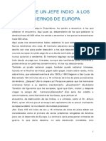 Carta de Un Jefe Indio a Los Gobiernos de Europa